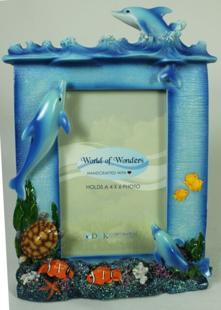 Ocean Dolphin Picture Frame Coral Reef Sea Fish Table Easel Resin ...