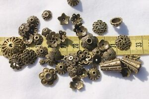 Tibetan-Style-Bead-Caps-Mixed-Shape-Antique-Bronze-8-20mm-in-Diameter-1oz