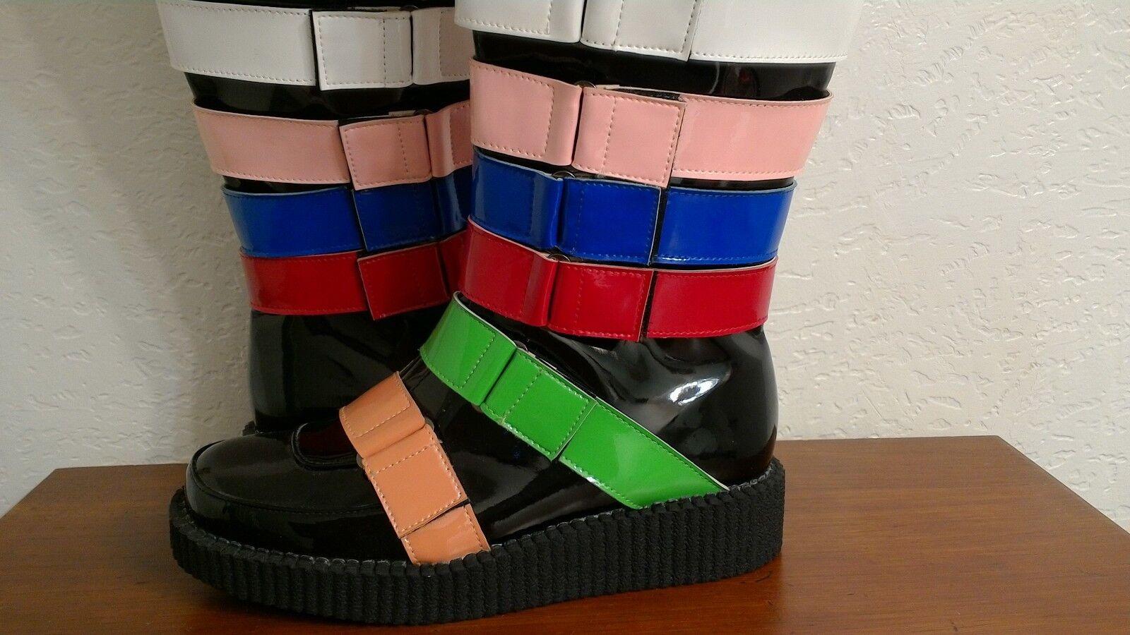 NEW Womens Multicolor Knee High Boots Straps Punk EUR40 Faux Leather Size 9 EUR40 Punk 3acc03