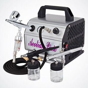 Image Is Loading New 3 Airbrush Kit Amp Air Compressor Dual