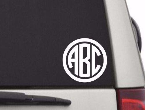 "Circle Custom Initial Monogram Decal Sticker Vinyl for Car Truck Window RTIC 5/""H"
