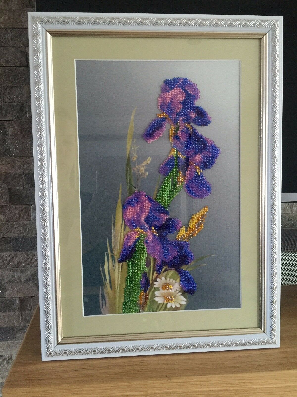 Handmade Embroiderot Beaded Picture of Evening Irises, perfect family gift