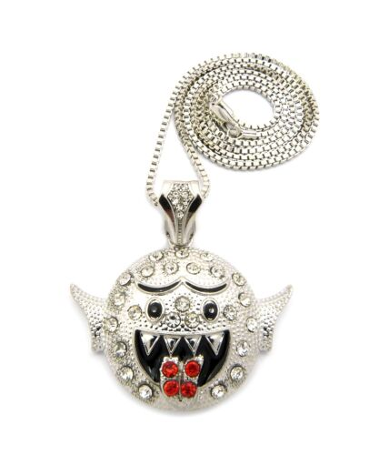 """MSP277BX NEW BOO GHOST PENDANT /&2mm//24/"""" BOX CHAIN HIP HOP NECKLACE"""