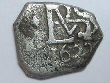 1627 PHILIP IV 1/2 REAL COB CARTAGENA DE INDIAS ? COLOMBIA ? ASSAYER P? COLONIAL