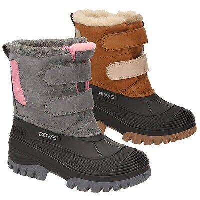 3b81f47bf79318 BOWS® Schuhe KEKE süße Mädchen Kinder Schnee Stiefel Winterboots  Klettverschluss