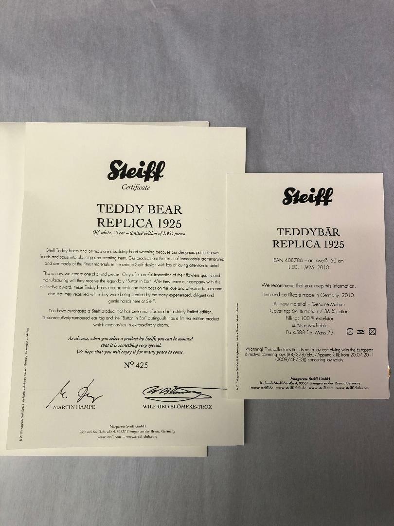 Steiff Steiff Steiff EAN 408786 1925 REPLICA TEDDY orso MOHAIR Ltd 4ffb97