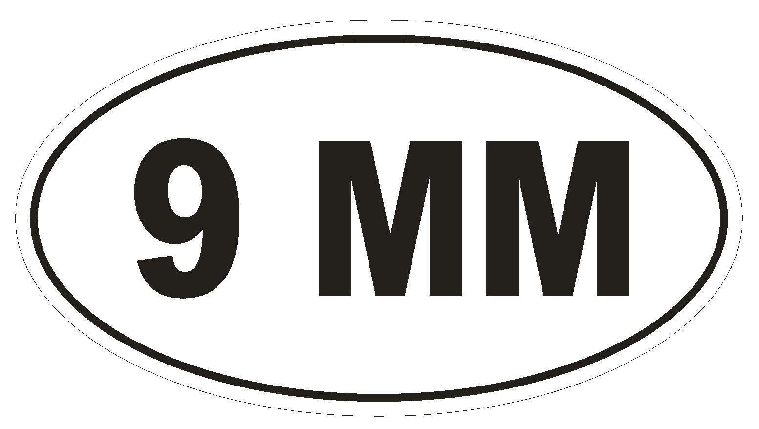 9 MM Oval Bumper Sticker or Helmet Sticker D2005 Euro Oval Gun Pistol Weapon