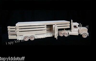 Wooden Semi Tractor Truck AND Gooseneck Horse Cattle Livestock Trailer Toy SET