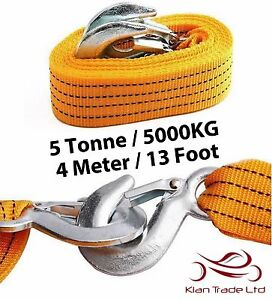 4 METER HEAVY DUTY TOW TOWING PULL ROPE STRAP HOOK FOR 5 TONNE VAN CAR RECOVERY