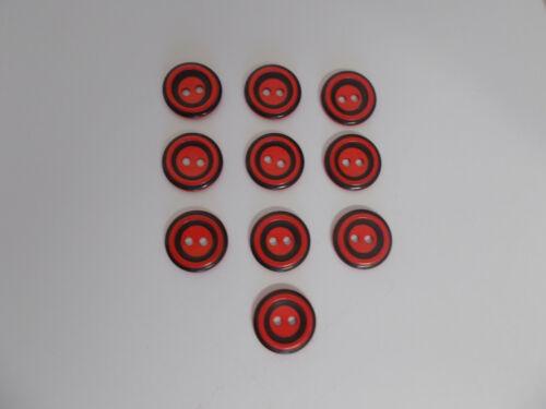 10 x 15 mm Rouge Boutons avec bande noire détail Bébé Boutons 2 Trous Boutons 15 Mm