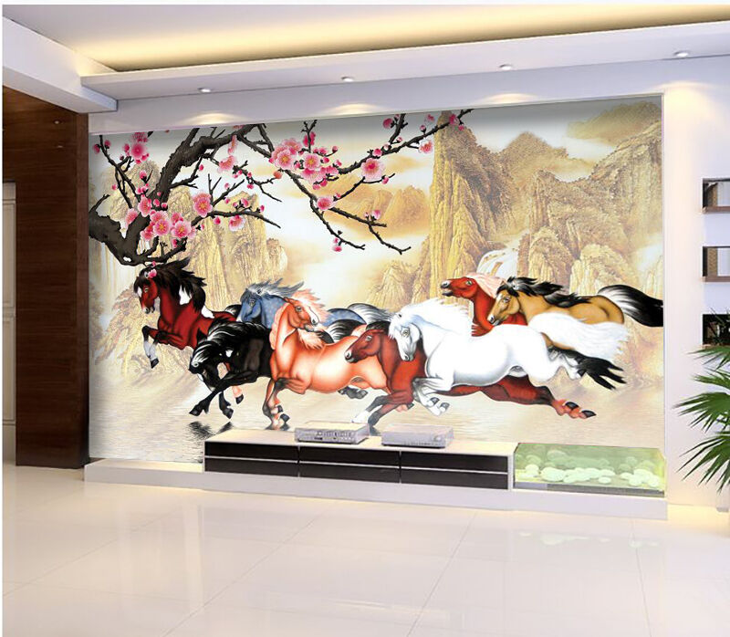 3D Flowers And Horses 1941 Paper Wall Print Wall Decal Wall Deco Indoor Murals