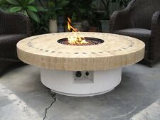 New Backyard Outdoor Gas Propane Fire Pit w/ Marble Mosaic Top Patio Heater