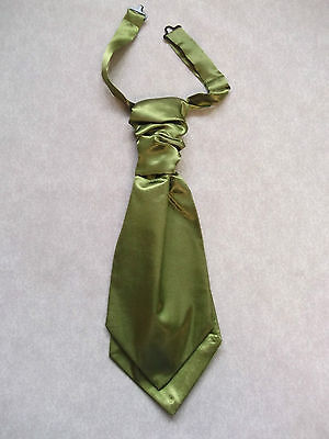 Diplomatic Boys Cravat Wedding Tie Formal Party Ruched Pre Tied Olive Green Age 7-14 Ties