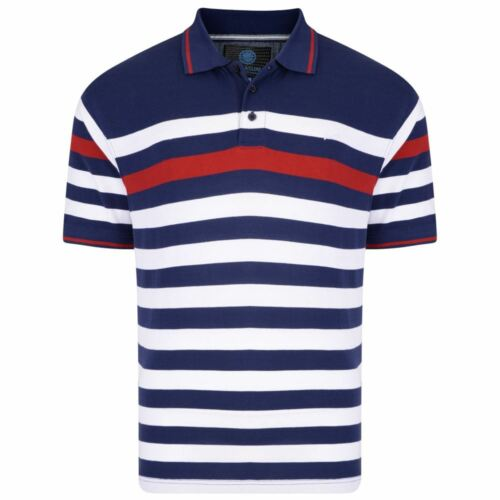 5114 KAM Pure Cotton Mens Yarn Dyed Pique Polo Shirt in Navy