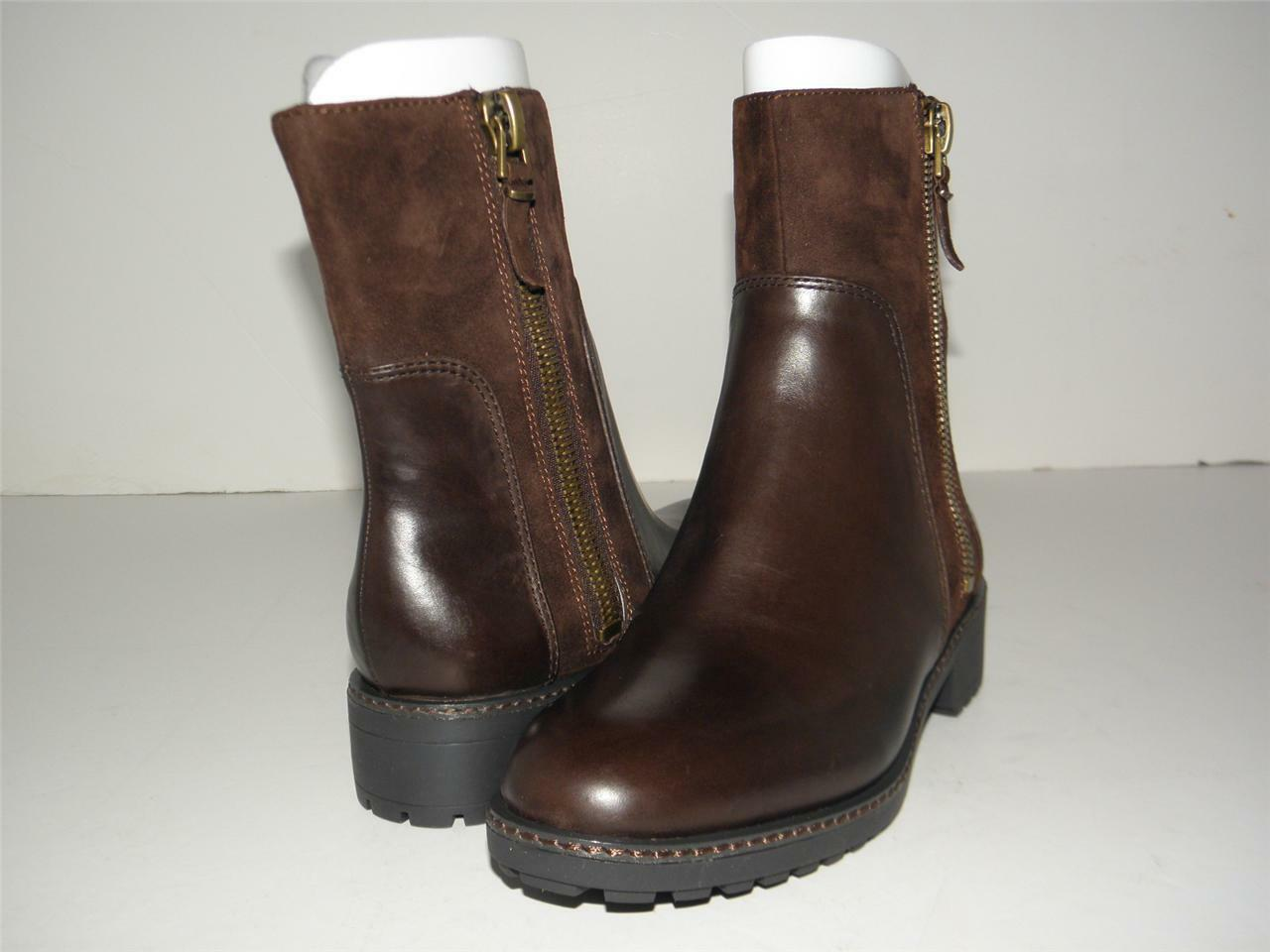 298 NEW VIA SPIGA EARTHA BROWN LEATHER HEELS ANKLE BOOTS SIDE ZIPPER BOOTIE