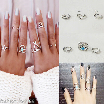 1Set/6Pcs New Alloy Personality Fashion Punk Knuckle Finger Adjustable Rings