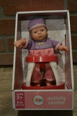 "Circo Target Mini 8/"" Baby Doll with Blue Eyes Rocking Horse Diaper Bag Bottles"