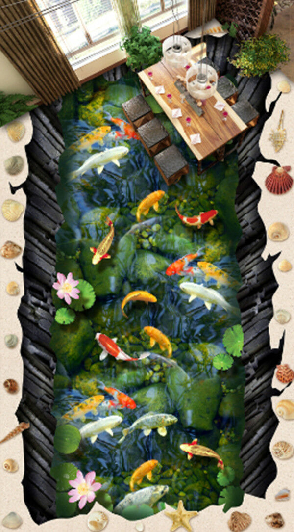 3D Lotus Koi Pool 97 Floor WallPaper Murals Wall Print Decal AJ WALLPAPER US