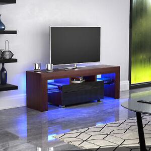 Luna-LED-TV-Stand-Cabinet-Unit-1-Drawer-Matte-Gloss-MDF-Furniture-Walnut-amp-Black
