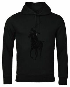 Polo-Ralph-Lauren-Men-039-s-Sz-M-Double-Knit-Big-Pony-Graphic-Logo-Hoodie-Black