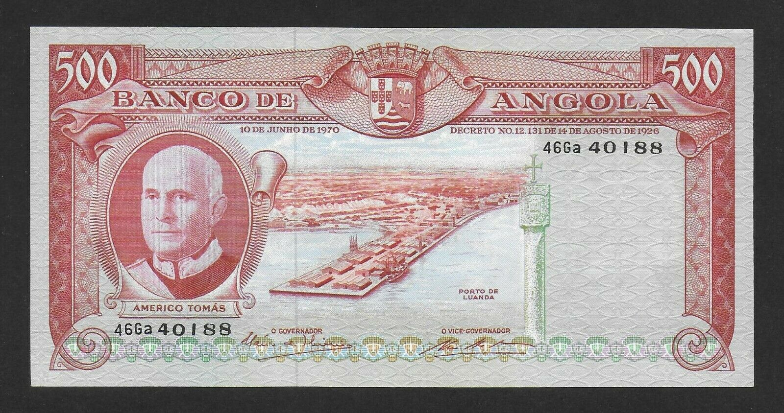 Colonial Portugal Angola 500 Escudos P-102 VG 1972