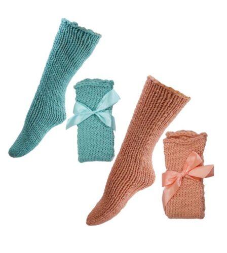 Ladies 2 pack Aqua and Peach Soft Chunky Socks Ideal Gift