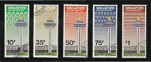 SINGAPORE 1981 CHANGI INT'L AIRPORT COMP. SET OF 5 STAMPS SC#382-385 FINE USED