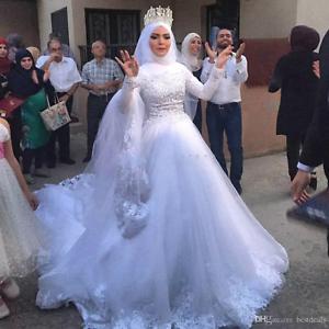 Image Is Loading 2017 Muslim Wedding Dress Modest High Neck Full