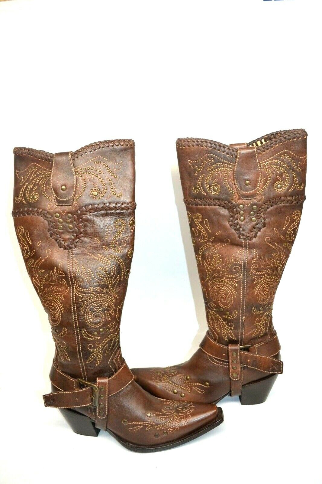 Corral Boots G1116 WOMENS 16  TALL Western Brown Tall Whip Stitch and Studs 7 M