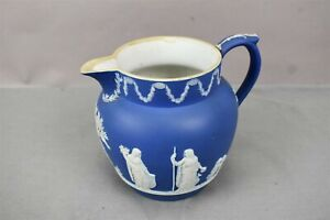 Antique Cobalt Blue Jasperware Arcadian Pitcher Jug White England