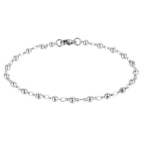 1 PC Bracelet Chaîne Ronde Perles Acier Inoxydable Accessoires 21cmx3.5mm
