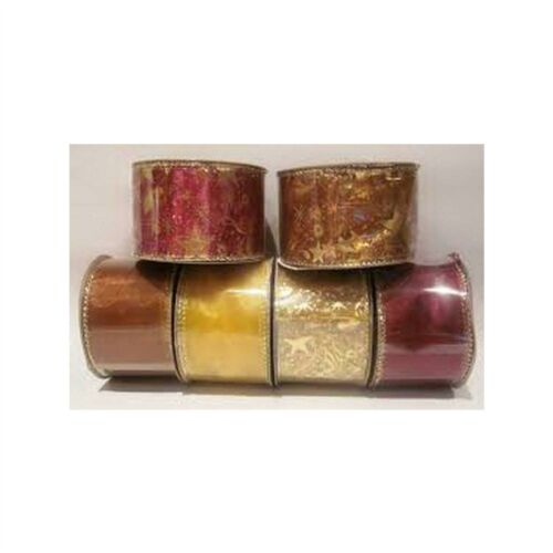 Christmas Party Wall Decoration Wired Ribbon Rolls Gold Bronze Red Xmas 6pcs