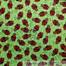 BonEful Fabric FQ Cotton Quilt Green Red Black White B&W Ladybug Polka Dot Girl