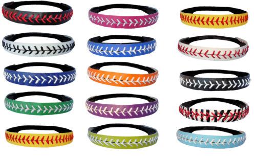 Softball Headbands U PICK COLOR or Yellow Leather Seam Sport Team WHOLESALE lot