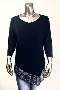 CHICO-039-S-TRAVELER-NWT-2-L-BLACK-SEASHELLS-TRIM-ASYMMETRICAL-3-4-SLV-TOP-85