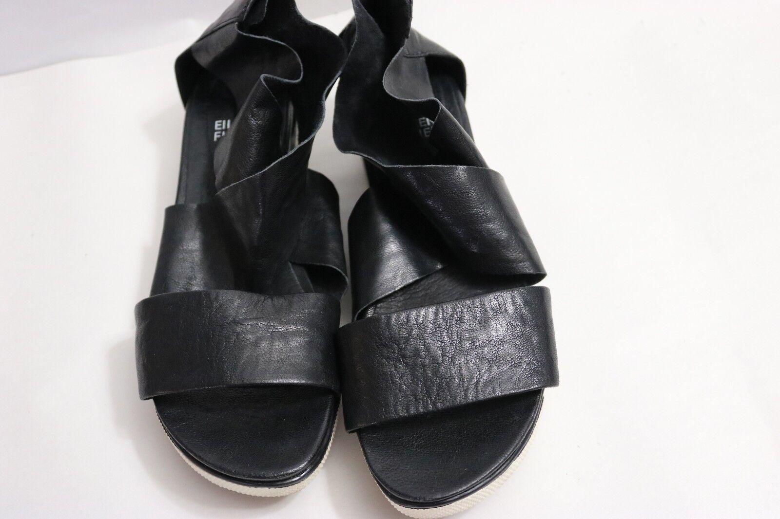 B-468  Women's Eileen Fisher Sport Platform Black Leather Sandal Size 7  1 2 M