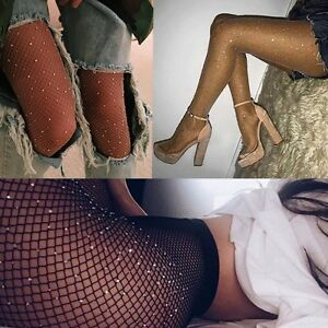 139a773ccb5 Image is loading NEW-Women-Crystal-Rhinestone-Fishnet-Elastic-Stockings-Fish -
