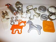Lot-22 pcs; Vtg Cookie Cutters,Mirro Aluminum Cake Decorator & Icing Bag w/tips!