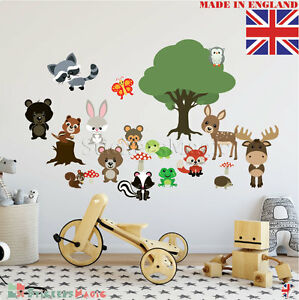 Woodland-Wall-Stickers-Nursery-Art-Animal-Tree-Fox-and-Friends-Boy-Girl-Baby-UK