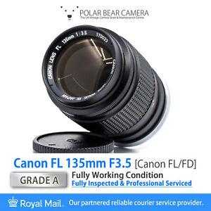⭐SERVICED⭐ CANON FL 135mm F3.5 Fits FD *8 BLADES* Full Frame + Caps [GRADE A]