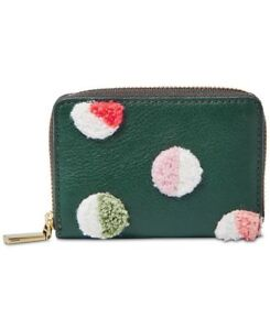 finest selection 42afb c08ed Details about Fossil RFID Leather Wallet Mini Zip Card Case, Alpine Green