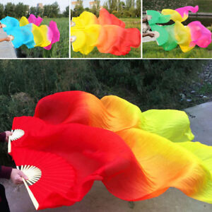 New-Arrival-Tie-dyed-Belly-Dance-Fan-Veils-for-Women-long-Silk-Fan-Bamboo-Fans