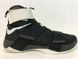 wholesale dealer 451a0 498af Details about NIKE LeBron Soldier 10 TB X Basketball Shoes Size 10.5 Black  White 844380-001