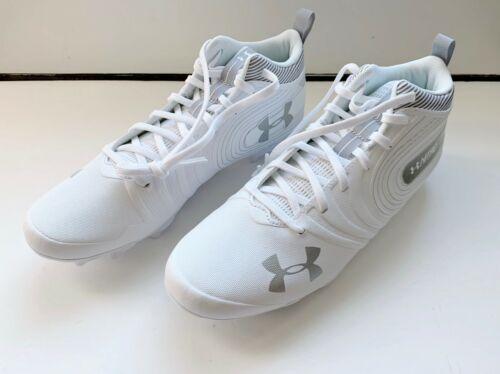 NEW UNDER ARMOUR UA NITRO MID MC FOOTBALL CLEATS SZ 10.5 WHITE 3000181-100