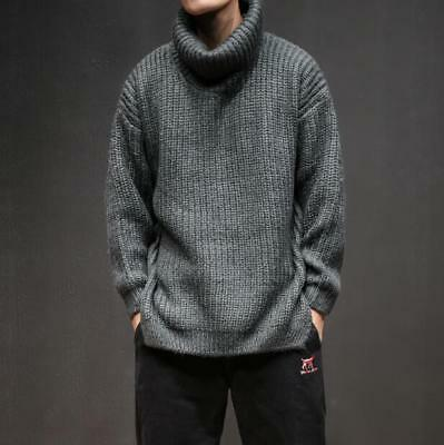Mens Japanese Style High Collar Loose Sweaters Knitted Turtleneck Loose Warm Top