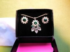 AVON Silver Green Clear Gem Pendant Necklace Earring Set BNWB