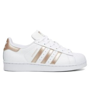 Details about ADIDAS Superstar White Gold Stripes Sneakers Shoes Mens 6.5 Wmns 8.5