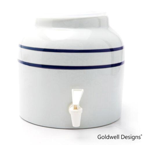 Classic Double Line Stripes Goldwell Designs Porcelain Water Dispenser Crock