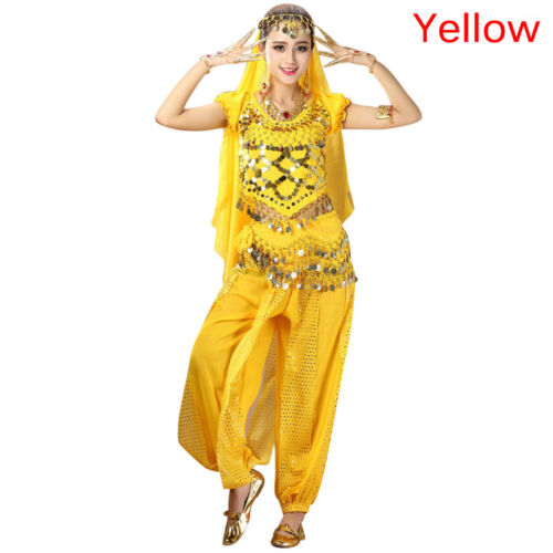 Women/'s Belly Dance Costumes Set Indian Dancing Dress Clothes Top Pants Colorful
