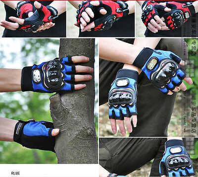 Cool Spring Autumn PRO-BIKER MOTORCYCLE ATV RACING ARMORED GLOVES HALF FINGER